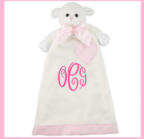 A personalized Lynne Pink Lamb lovie is a sweet gift!