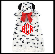 Domino the Puppy monogrammed lovie has white with black spots and so cute!