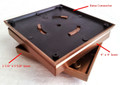 "Copper base connector, 4"" x 4"" base, 3 5/8"" x 3 5/8"" base"