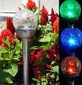 2-Pack Solar Glass Crackle Ball Bronze/Stainless Steel Lights