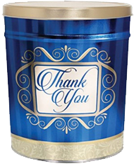 """Gold and Blue """"Thank You"""" Popcorn Tin"""