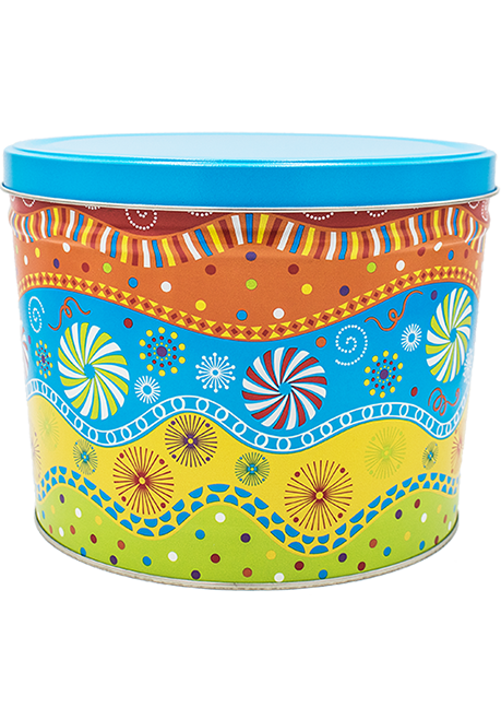 2 Gallon Panache Popcorn Tin - Whimsical for any giving occasion!