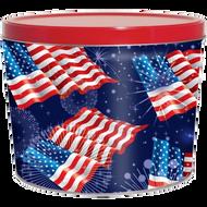 2 Gallon American Flag Patriotic Popcorn Tin