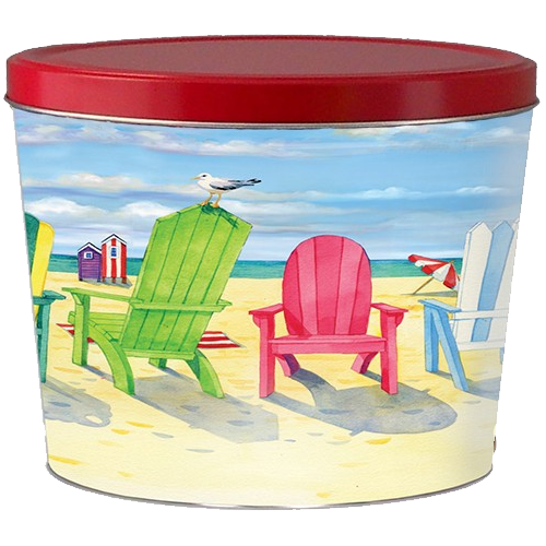 Beach Chairs 2-Gallon Popcorn Tin from Broadway Popcorn. Popped fresh daily in Wisconsin!