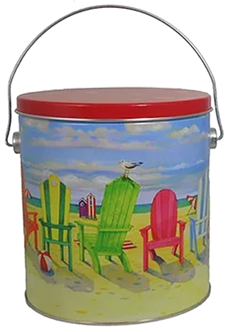 "1 Gallon ""Beach Chairs"" design, for everyday popcorn gift giving!"