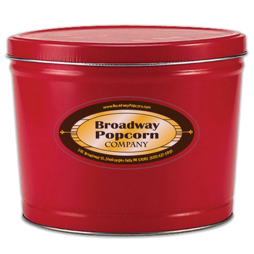 2 Gallon Solid Color Red Popcorn Tin