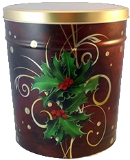 3.5 Boughs of Holly Popcorn Tin