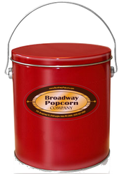 1 Gallon Solid Color Red Popcorn Tin