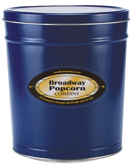3.5 Gallon Solid Color Blue Popcorn Tin