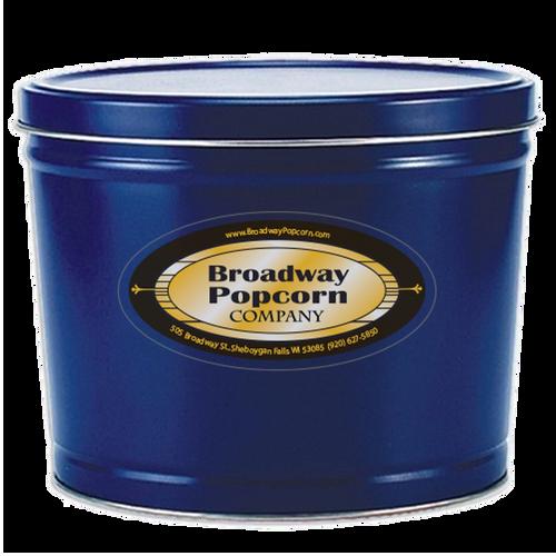 2 Gallon Solid Color Blue Popcorn Tin