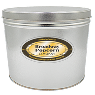2 Gallon Solid Color Platinum/Silver Popcorn Tin