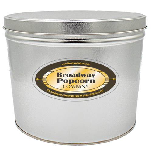 2 Gallon Solid Color Platinum/Silver Popcorn Tin
