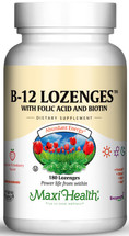 Maxi Health - B-12 Lozenges With Folic Acid & Biotin - as Cyanocobalamin - Strawberry Flavor - 90/180/360 Lozenges - DoctorVicks.com