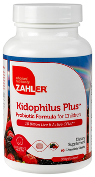 Zahler's - Kidophilus Plus - Children's Probiotic 10 Billion CFUs - Berry Flavor - 90 Chewies - Front - DoctorVicks.com