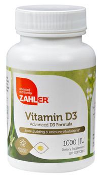 Zahler's - Vitamin D3 1000 IU - 120 Softgels - Front - DoctorVicks.com