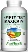 "Maxi Health - Empty ""00"" MaxiCaps - Extra Large Kosher Empty Vegetarian Capsules - 250/500 MaxiCaps - DoctorVicks.com"