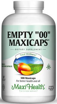 "Maxi Health - Empty ""00"" MaxiCaps - Extra Large Kosher Empty Vegetarian Capsules - 250/500 MaxiCaps - DoctorVicks.com"