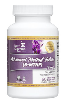 Nutri Supreme - Advanced Methyl Folate (5-MTHF) 1 mg - 60 Capsules - Front - DoctorVicks.com