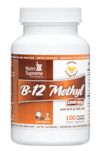 Nutri Supreme - B-12 Methyl 1000 mcg With B6 & Folic Acid - Orange Flavor - 100 Lozenges - Front - DoctorVicks.com