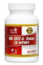Nutri Supreme - B6, B12 & Folate (5 MTHF) - Energy Formula - 60 Capsules - Front - DoctorVicks.com