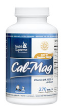 Nutri Supreme - Cal-Mag Complex With Vitamin D3 2000 IU & Boron - 270 Tablets - Front - DoctorVicks.com