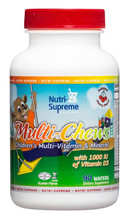 Nutri Supreme - Multi Chews - Children's Multivitamin & Mineral - Cherry Flavor - 90 Wafers - Front - DoctorVicks.com