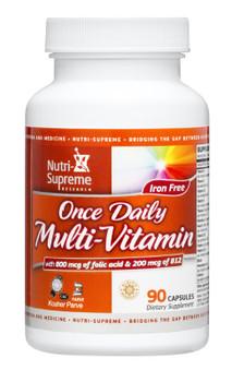 Nutri Supreme - Once Daily Multi-Vitamin - No Iron - 90 Capsules - Front - DoctorVicks.com