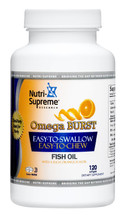 Nutri Supreme - Omega-3 Burst - Mini Softgels - Orange Flavor - 120 Softgels - Front - DoctorVicks.com