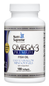 Nutri Supreme - Omega-3 Premium - Mini Softgels - Orange Flavor - 180 Softgels - Front - DoctorVicks.com