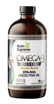 Nutri Supreme - Omega-3 Silver Liquid Fish Oil - Orange Flavor - 16 fl oz - Front - DoctorVicks.com