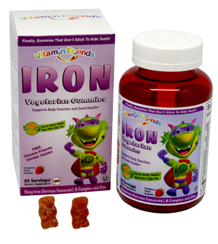 Vitamin Friends - Iron as Ferrous Fumarate 15 mg - Strawberry Flavor - 60 Gummy Bears - DoctorVicks.com