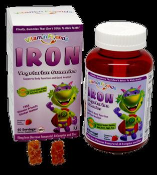 Vitamin Friends - Iron as Ferrous Fumarate 15 mg - Strawberry Flavor - 60 Gummy Bears - DoctorVicks.com