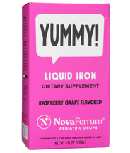 NovaFerrum - Kosher Liquid Iron Pediatric Drops - 15 mg Iron For Infants - Raspberry Grape Flavor - 4 fl oz - Actual Box - DoctorVicks.com
