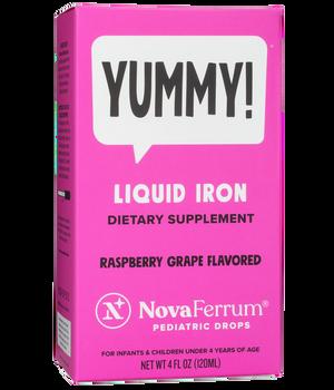 NovaFerrum - Kosher Liquid Iron Pediatric Drops - 15 mg Iron For Infants - Raspberry Grape Flavor - 4 fl oz - Actual Box - DoctorVicks.com