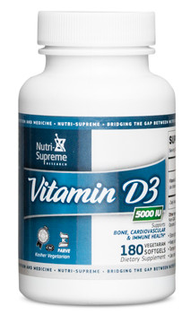 Nutri Supreme - Vitamin D3 5000 IU - 180 Liquid Softgels - Front - DoctorVicks.com
