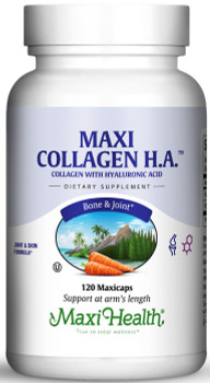 Maxi Health - Maxi Collagen H.A. - Joint & Skin Formula With Hyaluronic Acid - 120 MaxiCaps - Front - DoctorVicks.com
