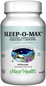 Maxi Health - Sleep-O-Max - Melatonin 3 mg - 60 MaxiCaps - Front - DoctorVicks.com