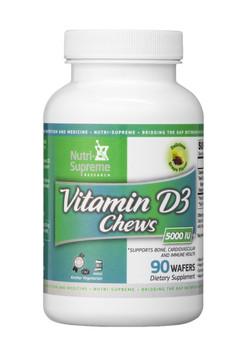 Nutri Supreme - Vitamin D3 Chews 5000 IU - Grape Flavor - 90 Wafers - Front - DoctorVicks.com