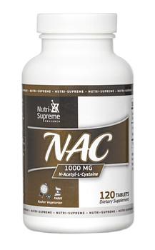 Nutri Supreme - NAC N-Acetyl-L-Cysteine 1000 mg - 120 Tablets - Front - DoctorVicks.com