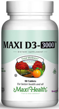 Maxi Health - Maxi Vitamin D3 3000 IU - 90/180 Tablets - DoctorVicks.com