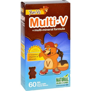 YumVs Multi V with multi-mineral formula - 17 essential Vitamins & Minerals 60 Milk Chocolate Flavor Bears