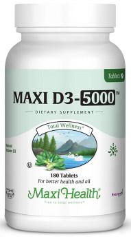 Maxi Health - Maxi Vitamin D3 5000 IU - 90/180 Tablets - DoctorVicks.com