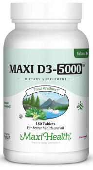 Maxi Health - Maxi Vitamin D3 5000 IU - 90/180 Tablets - DoctorVicks.com