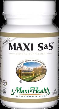 Maxi Health - Maxi S&S - Selenium, Sulphur & Reishi Mushroom - 60 MaxiCaps - Improved - DoctorVicks.com