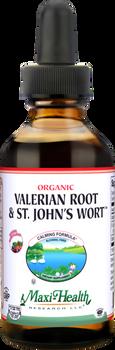 Maxi Health - Organic Liquid Valerian Root & St. John's Wort - Stress Reliever - Berry Flavor - 1/2 fl oz - DoctorVicks.com