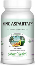 Maxi Health - Zinc Aspartate - Highly Absorbable - 100 Tablets - DoctorVicks.com