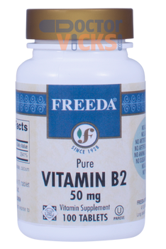 Freeda Vitamins - Vitamin B2 (Riboflavin) 50 mg - 100 Tablets - © DoctorVicks.com