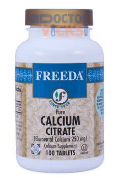Freeda Vitamins - Pure Calcium Citrate 1000 mg - 100 Tablets - © DoctorVicks.com