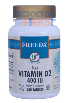 Freeda Vitamins - Vitamin D2 400 IU - 250 Tablets - © DoctorVicks.com