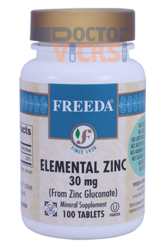 Freeda Vitamins - Elemental Zinc 30 mg - 100 Tablets - © DoctorVicks.com